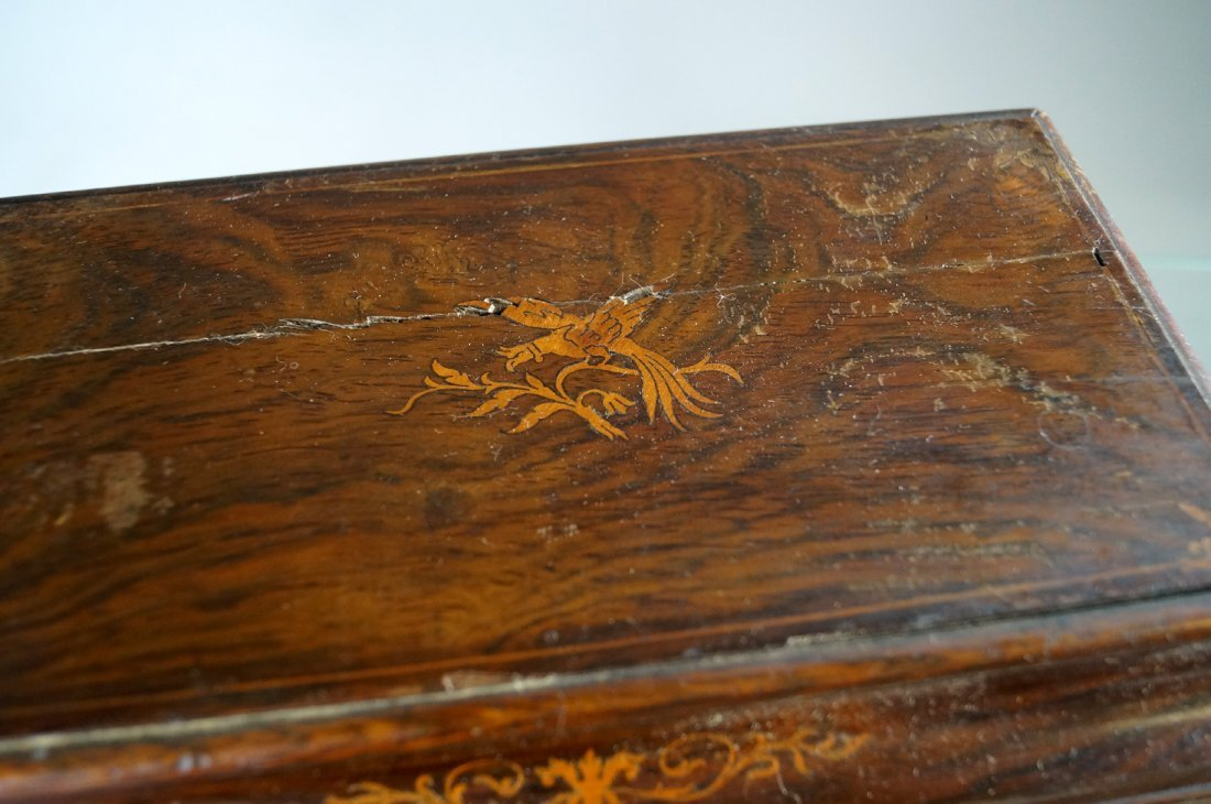 FRENCH INLAID ROSEWOOD DRESSER BOX WITH FITTED - 2