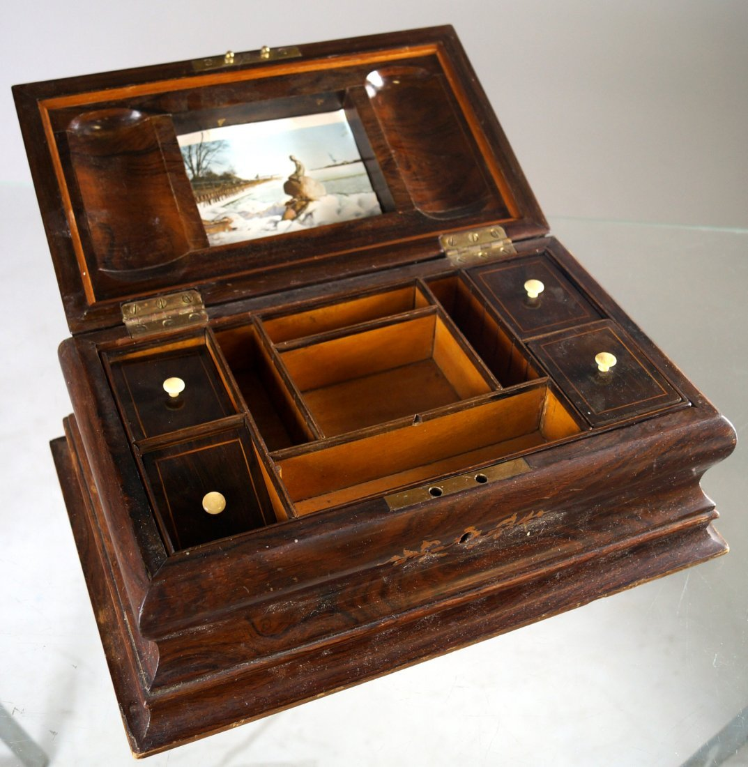 FRENCH INLAID ROSEWOOD DRESSER BOX WITH FITTED - 3