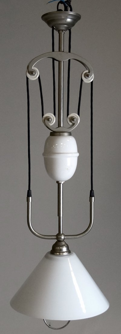FRENCH NICKEL STEEL AND MILK GLASS ADJUSTABLE LIGHT