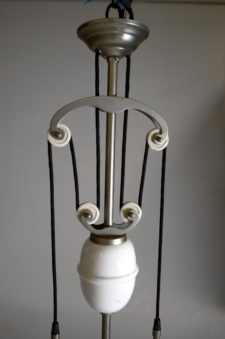 FRENCH NICKEL STEEL AND MILK GLASS ADJUSTABLE LIGHT - 2