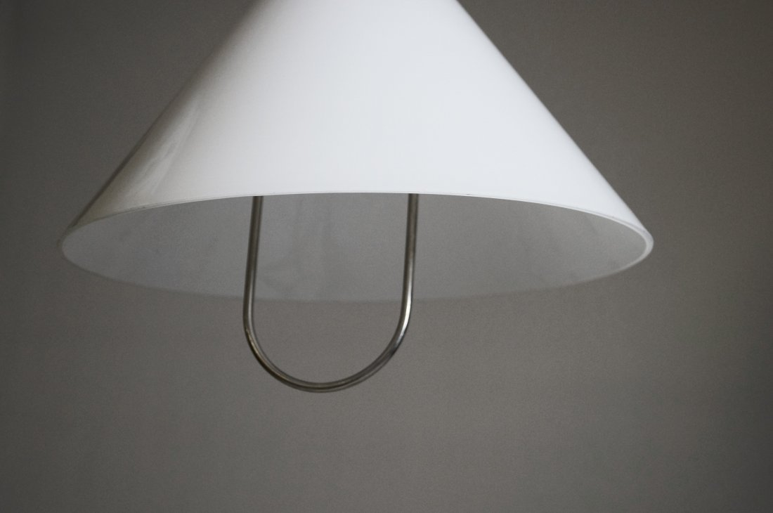 FRENCH NICKEL STEEL AND MILK GLASS ADJUSTABLE LIGHT - 3