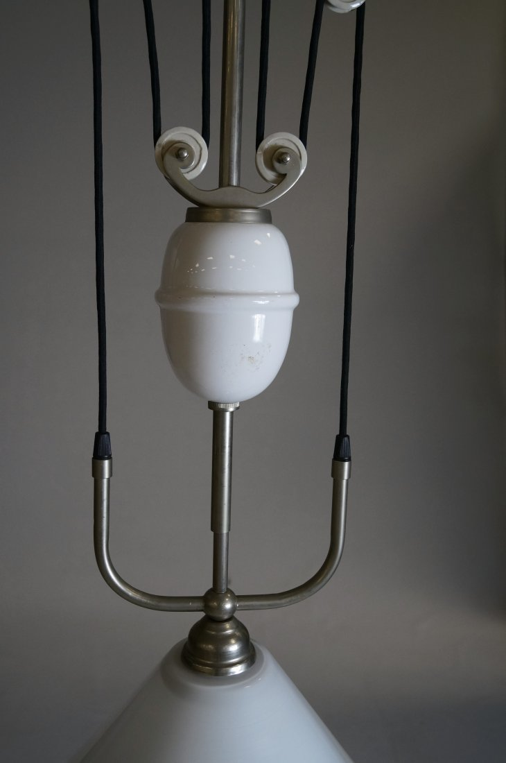 FRENCH NICKEL STEEL AND MILK GLASS ADJUSTABLE LIGHT - 4