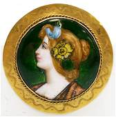 ART NOUVEAU FRENCH LIMOGES AND 14K YELLOW GOLD
