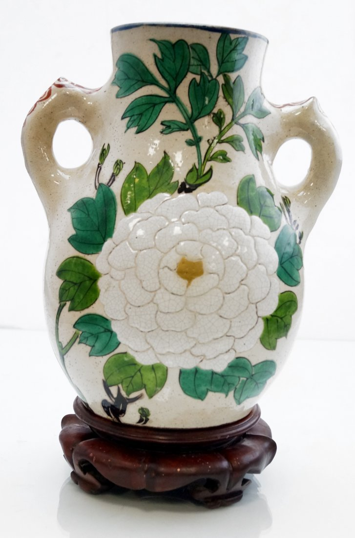 JAPANESE ENAMEL DECORATED SATSUMA POTTERY DOUBLE HANDLE