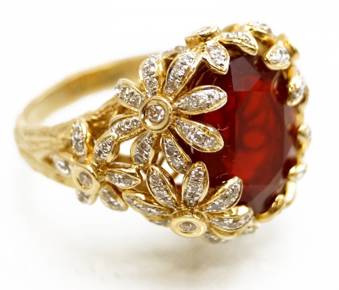 14K YELLOW GOLD DIAMOND AND 4.25 CT SYNTHETIC RUBY