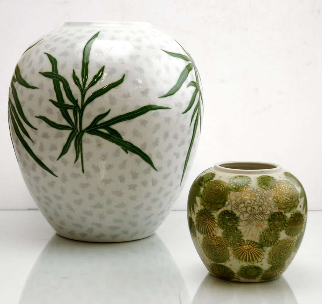 LOT (2) JAPANESE DECORATED PORCELAIN GINGER JAR VASES.