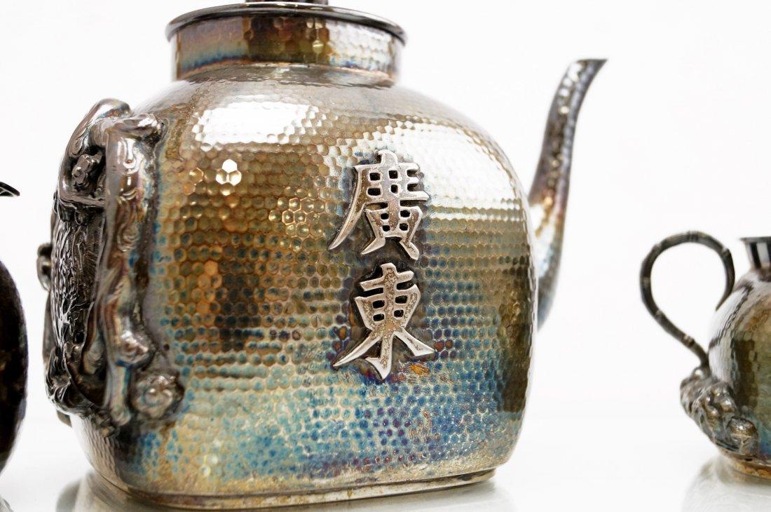FINE JAPANESE SILVER TEA SET (3), HALLMARKED, POT. - 3