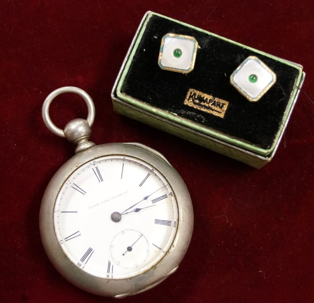 LOT (2) INCLUDING ELGIN OPEN FACE POCKET WATCH AND