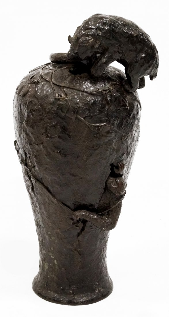 JAPANESE (MEIJI/TAISHO) BRONZE SCULPTURE URN WITH