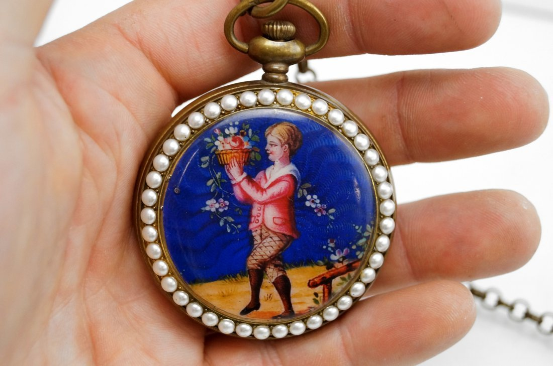 ENAMELED BRASS POCKET WATCH WITH CHINESE YIN/YANG DIAL, - 3