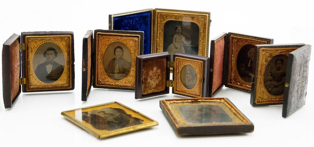 LOT (8) ASSORTED TINTYPES AND CASES INCLUDING GUTTA