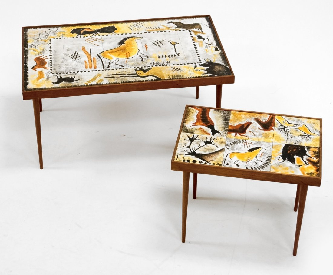 LOT (2) MID-CENTURY DECORATED TILE-TOP TABLES. HEIGHT