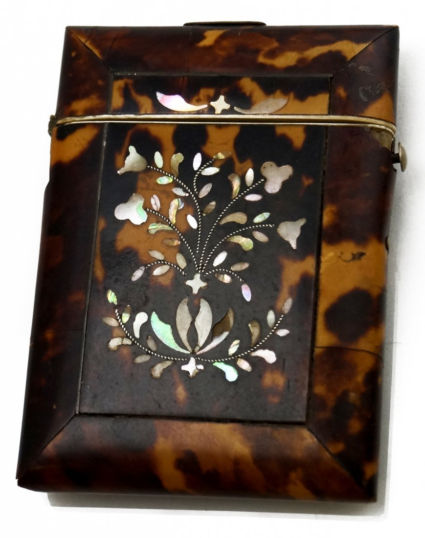 VICTORIAN MOTHER-OF-PEARL INLAID TORTOISE CARD HOLDER.