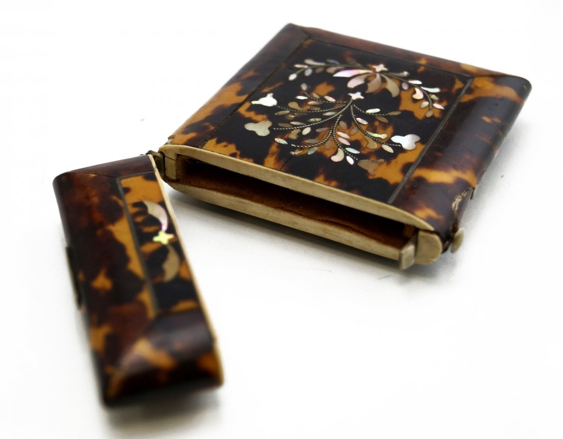 VICTORIAN MOTHER-OF-PEARL INLAID TORTOISE CARD HOLDER. - 3