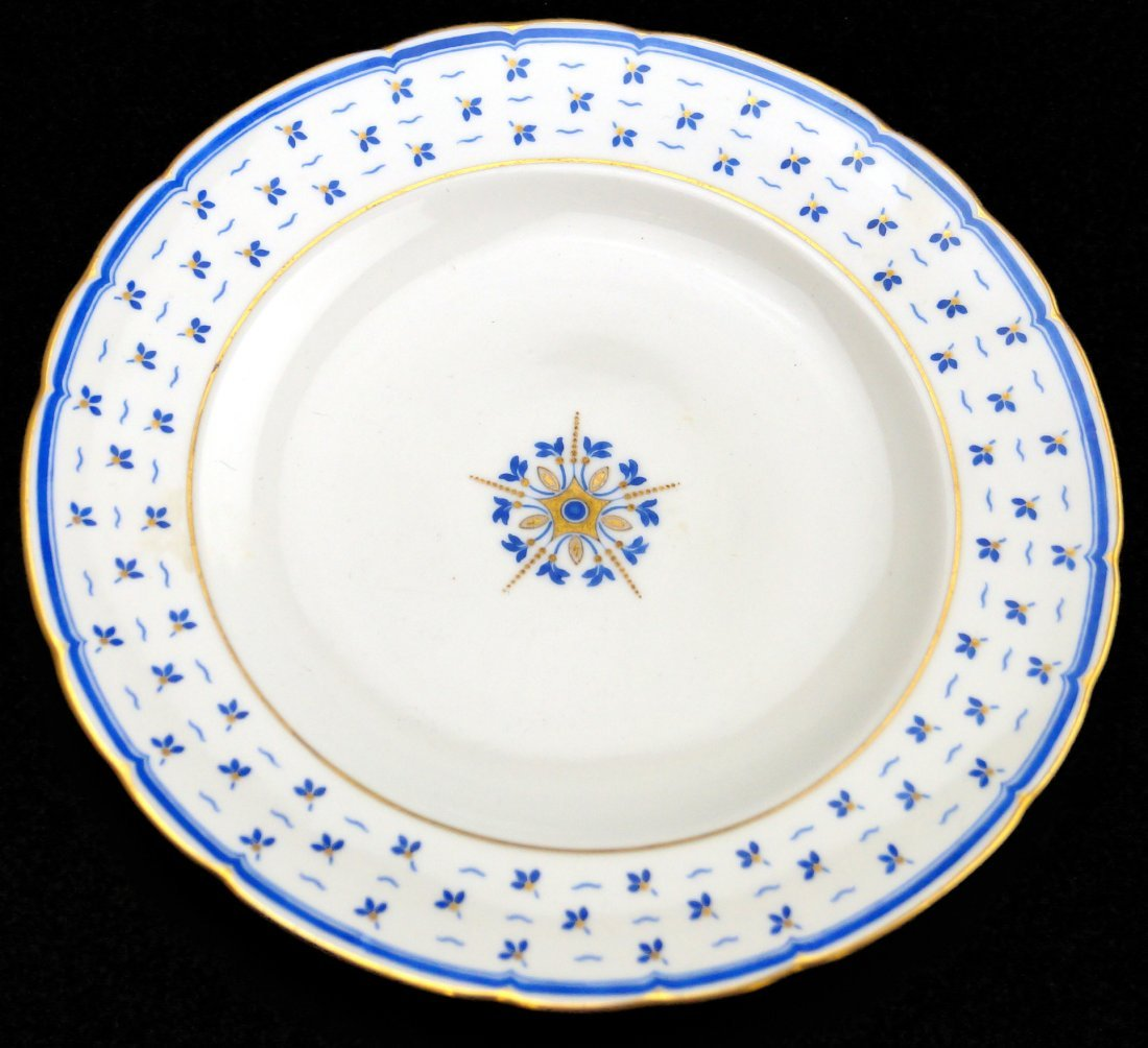 """SET (12) ROYAL CROWN DERBY """"BLUE FLOWERS & SCALLOPED"""
