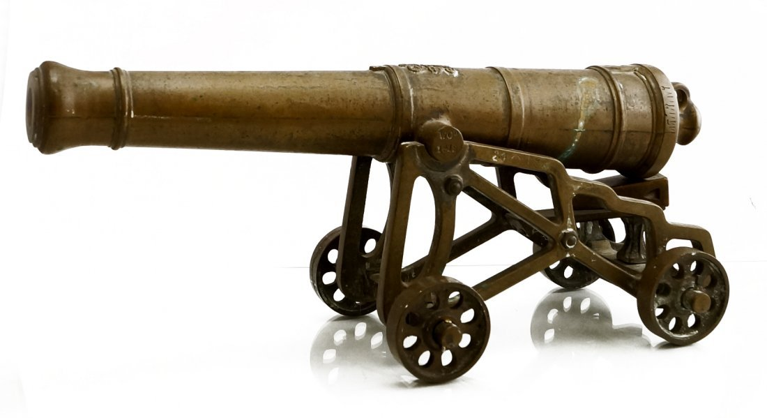 ENGLISH BRONZE STARTERS CANNON, SIGNED W.C. CO. 1812.