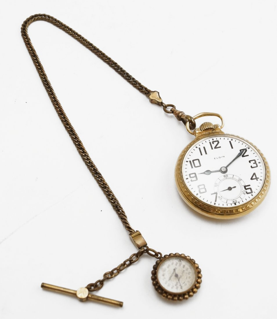 ELGIN GOLD FILLED OPEN-FACE RAILROAD POCKET WATCH WITH