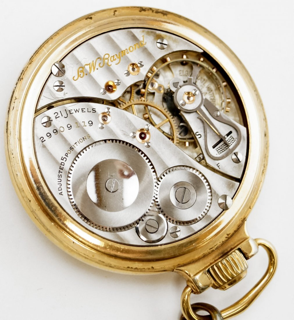 ELGIN GOLD FILLED OPEN-FACE RAILROAD POCKET WATCH WITH - 4