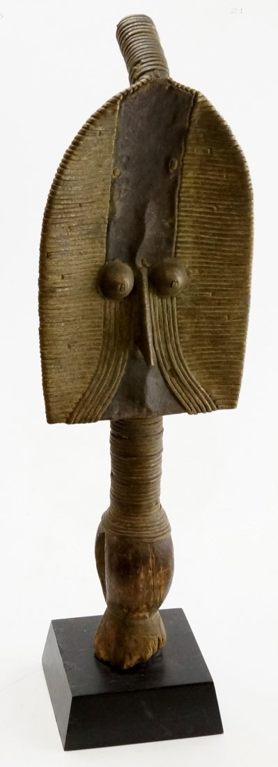 MAHONGWE, GABON, CARVED AND BRASS BOUND RELIQUARY.