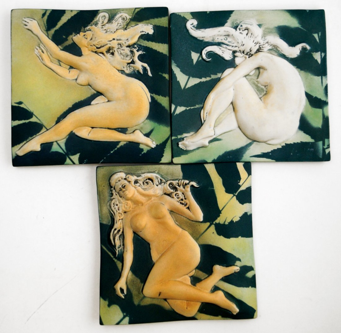 LOT (3) SURVING STUDIO'S HIGH RELIEF CERAMIC TILES,