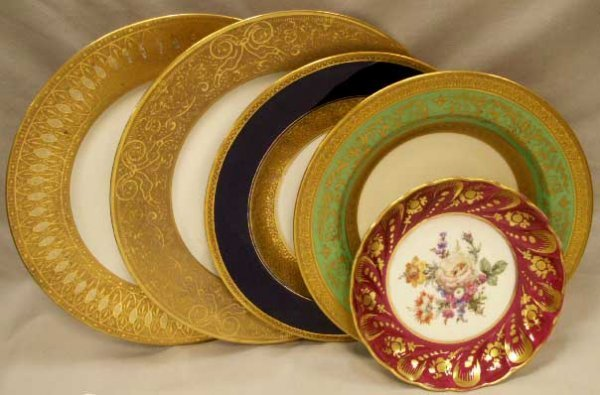 4: LOT (5) PORCELAIN GILT & DECORATED PLATES/BOWLS