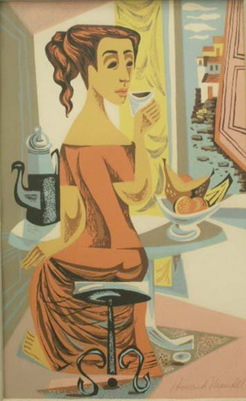 8: SERIGRAPH, FIGURE DRINKING COFFEE, SIGNED MANDEL