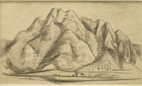 12: GRAPHITE ON PAPER, ADOBES IN A VALLEY, SIGN IVES