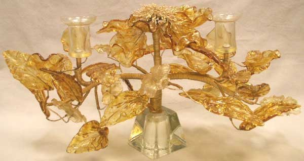17: ART GLASS TREE-FORMED/FLORAL CANDELABRA