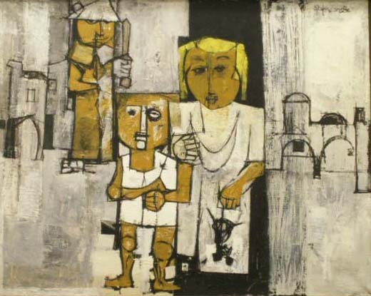 19: OIL ON CANVAS, FIGURES IN THE HOLY LAND, ZAFRIR