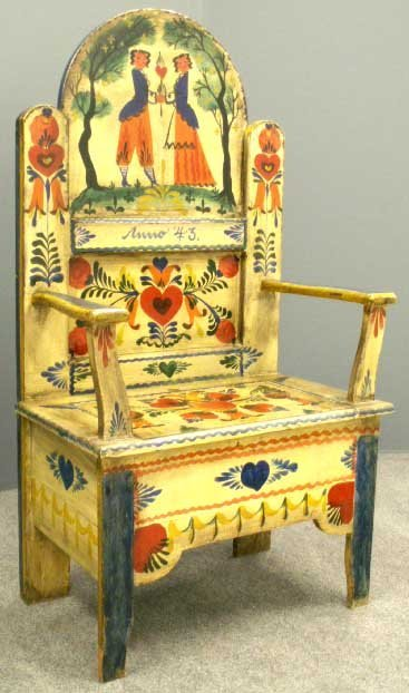 87: PETER HUNT DECORATED HALL CHAIR