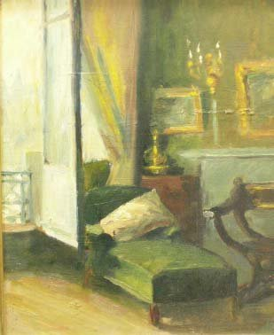 """316: OIL ON CANVAS MOUNTED ON BOARD, """"INTERIOR…"""" BOUCHE"""