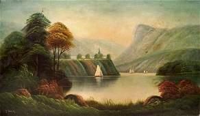 AMERICAN SCHOOL 19TH CENTURY OIL ON CANVAS NAIVE
