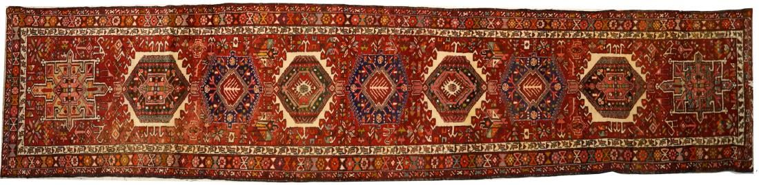 "SEMI-ANTIQUE HERITZ CORRIDOR RUG. 3'10"" X 13'10"""