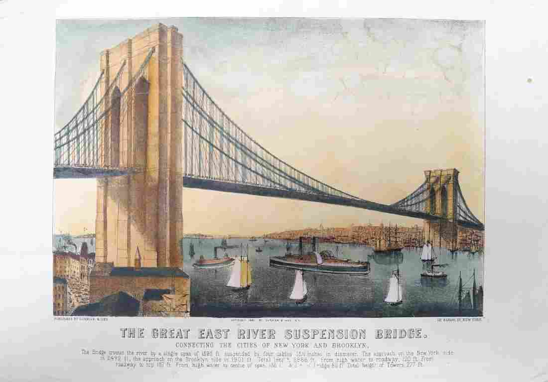"""CURRIER & IVES LITHOGRAPH, """"THE GREAT EAST RIVER"""