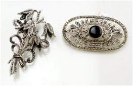 LOT 2 VINTAGE STERLING AND SILVER MARCASITE AND ONYX