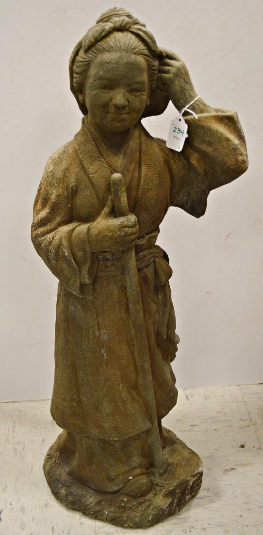JAPANESE CARVED STONE GARDEN FIGURE OF A FARMER. HEIGHT