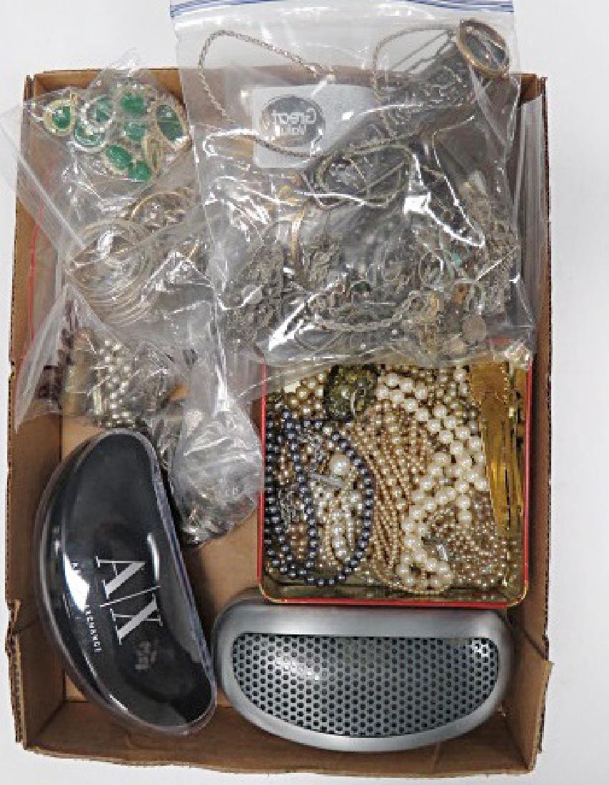BOX LOT ASSORTED COSTUME JEWELRY FINDINGS AND (2) PAIR