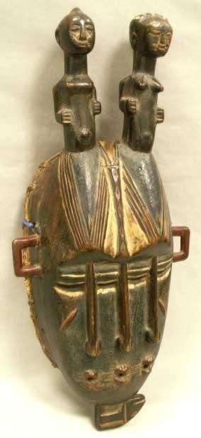 1004: SENUFO CARVED WOOD TRIPLE FACE MASK