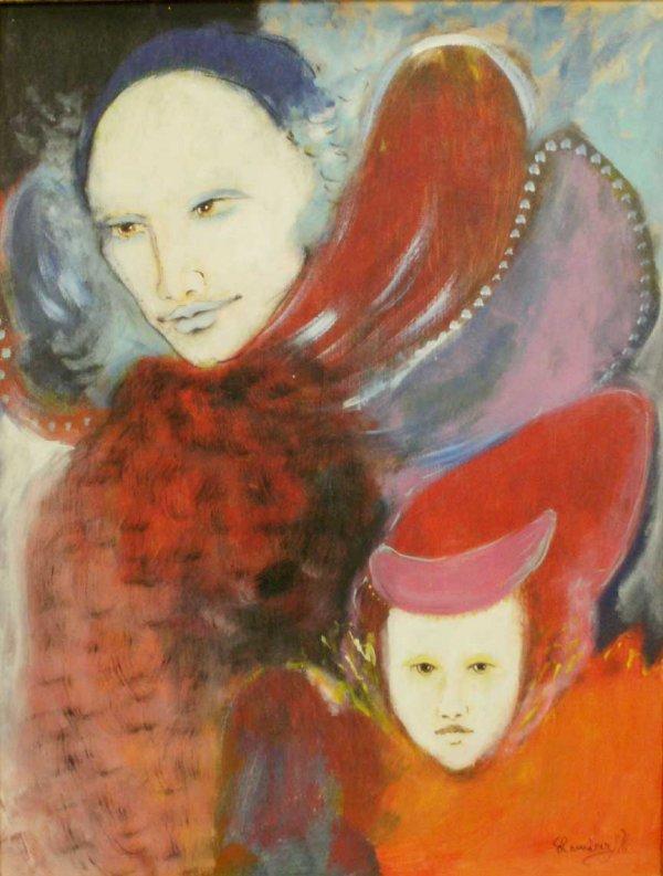 1016: GOUACHE/PANEL, ELEGANT MOTHER & CHILD