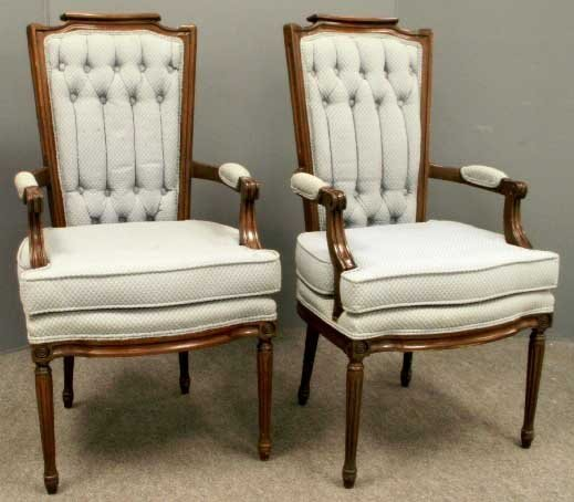 1019: PAIR FRENCH STYLE MAHOGANY OPEN ARMCHAIRS