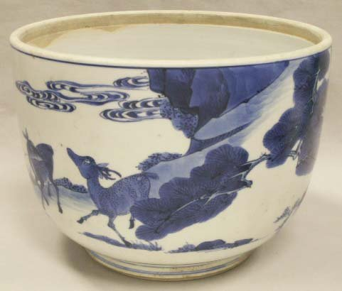 1109: CHINESE BLUE/WHITE DECORATED PORCELAIN JARDINIERE
