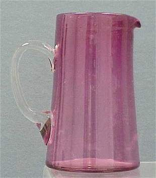 CRANBERRY GLASS PITCHER WITH APPLIED HANDLE