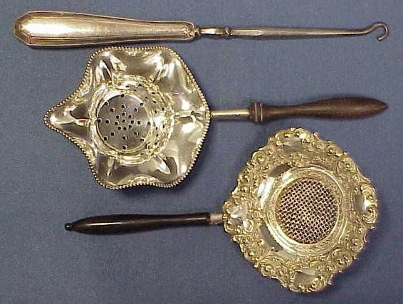 (3) TIFFANY STERLING BUTTON HOOK & TEA STRAINERS