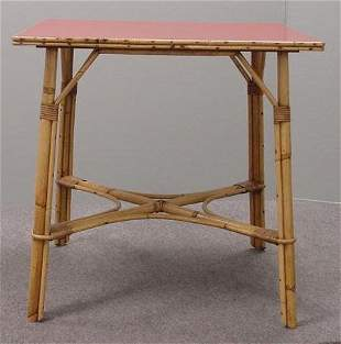 MID-CENTURY MODERN RATTAN DINETTE TABLE