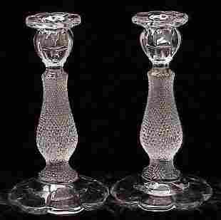 PAIR PATTERN GLASS CANDLESTICKS