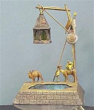 POLYCHROMED METAL MIDDLE EASTERN FIGURAL LAMP