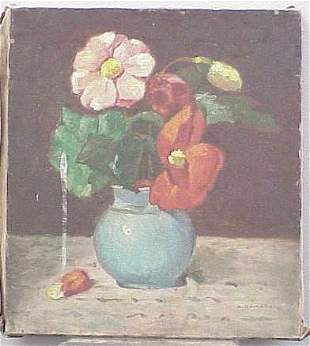 OIL/CANVAS, VASE OF FLOWERS, SIGNED A. DAMATA