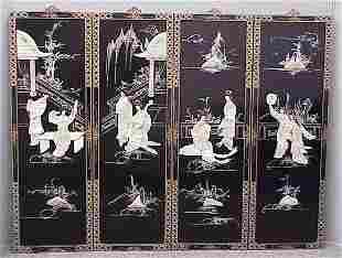 LOT (4) JAPANESE HARDSTONE/IVORY PANELS