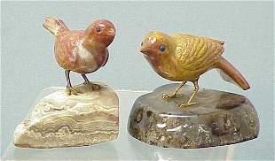 LOT (2) CARVED JASPER BIRDS ON AGATE BASES