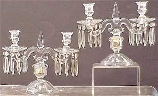 PR HEISEY GLASS, OLD WILLIAMSBURG, CANDELABRAS